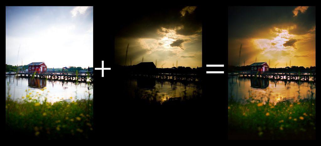Нужно обязательно иметь несколько снимков с разной экспозицией